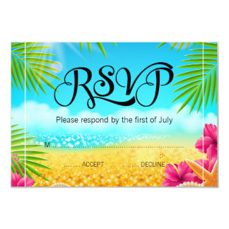 Tropical Beach Pink Hibiscus Bat Mitzvah RSVP Card