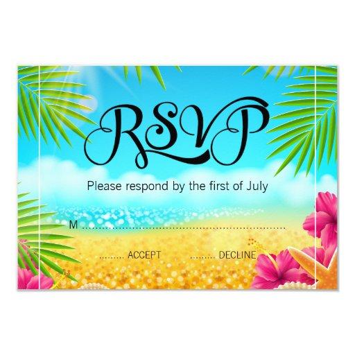 Tropical Beach Pink Hibiscus Bat Mitzvah RSVP Card
