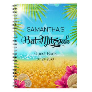 Tropical Beach Pink Hibiscus Guest Book Spiral Notebook