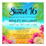 Tropical Beach Pink Hibiscus Sweet 16 Birthday 5.25x5.25 Square Paper Invitation Card
