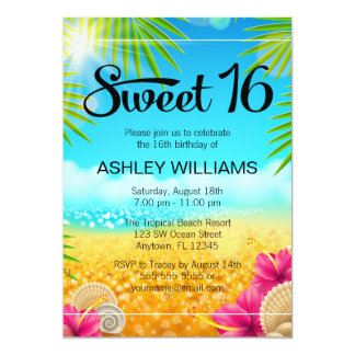 Tropical Beach Pink Hibiscus Sweet 16 Birthday 5x7 Paper Invitation Card
