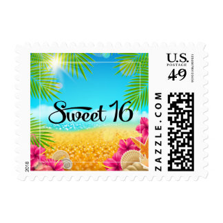 Tropical Beach Pink Hibiscus Sweet 16 Birthday Stamps