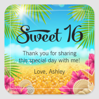 Tropical Beach Pink Hibiscus Sweet 16 Favor Square Sticker