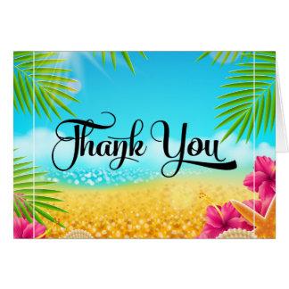 Tropical Beach Pink Hibiscus Thank You Card