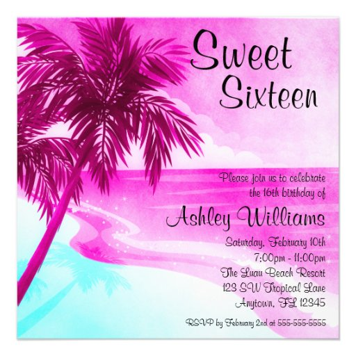 Tropical Beach Pink Sweet 16 Birthday Invitations Announcements