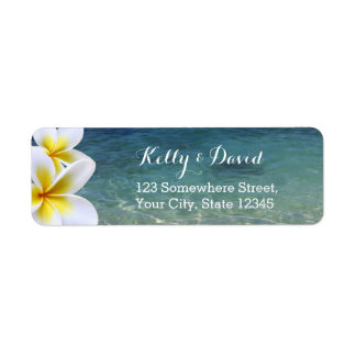 Tropical Beach & Plumeria Flowers Return Address Label
