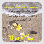 Tropical Beach Plumeria Thank you with address Stickers