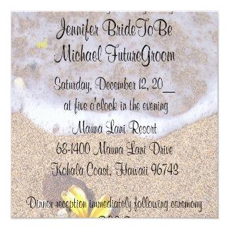 Tropical Beach Plumeria Wedding RSVP 5.25x5.25 Square Paper Invitation Card