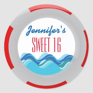 Tropical Beach Pool Party Sweet 16 Classic Round Sticker