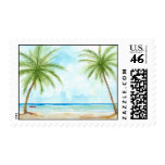 Tropical Beach Postage Stamp