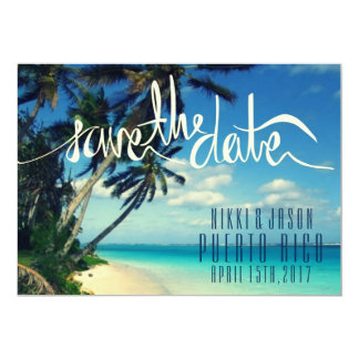 Tropical Beach Puerto Rico Wedding Save the Date Card