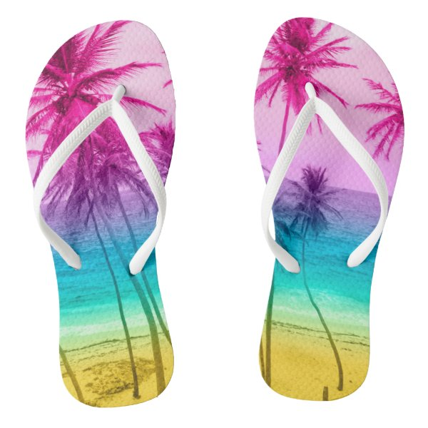 Tropical beach rainbow filter flip flops