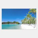 Tropical beach rectangular sticker