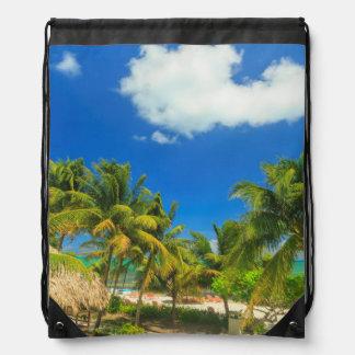 Tropical beach resort, Belize Drawstring Backpack