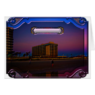 Tropical Beach Resorts at Dawn Digital Framed Art Card