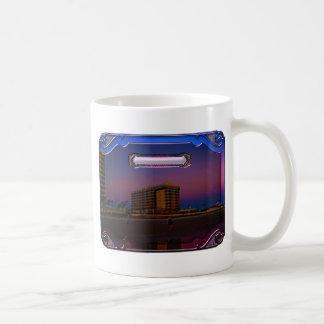 Tropical Beach Resorts at Dawn Digital Framed Art Coffee Mug