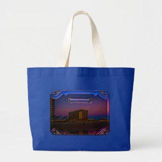 Tropical Beach Resorts at Dawn Digital Framed Art Large Tote Bag
