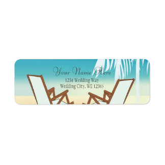 Tropical Beach Romance- Palm tree with hearts Label