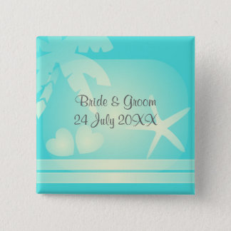 Tropical beach romance. Palm tree with hearts Pinback Button
