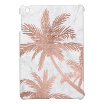 Tropical beach rose gold palm trees white marble case for the iPad mini