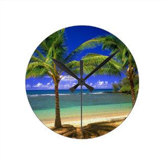 tropical beach round clock