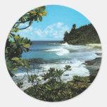 Tropical beach round stickers