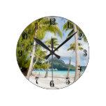 Tropical beach round wall clock
