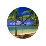 tropical beach round wall clocks