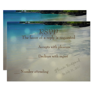 Tropical Beach RSVP with initials in the sand Card