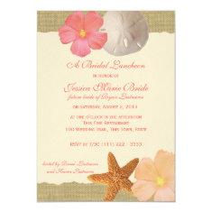 Tropical Beach Rustic Bridal Luncheon Invite