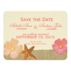 Tropical Beach Rustic Save the Date Invitations
