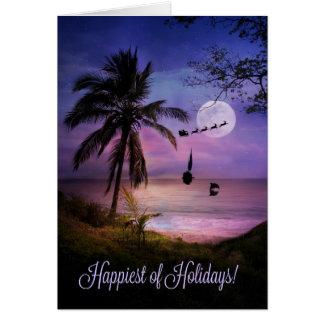 Tropical Beach Sailing Happy Holidays Card