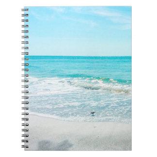 Tropical Beach Sand Ocean Waves Sea Shells Gulf Spiral Notebook