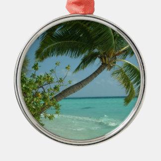 Tropical Beach Sand Sun Water Ocean Waves Surf Art Metal Ornament