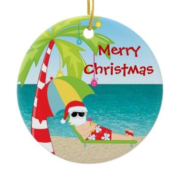 Beach Themed Tropical Beach Santa Palm Tree Christmas Ornament