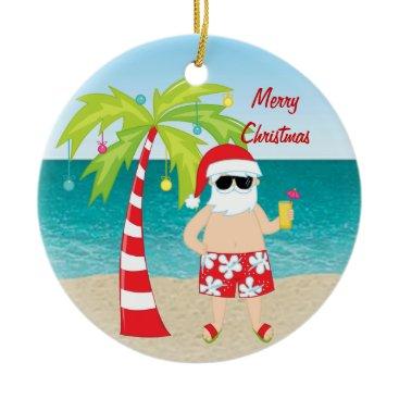 Christmas Themed Tropical Beach Santa Palm Tree Christmas Ornament