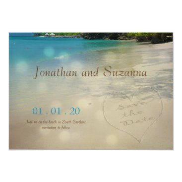 Beach Themed Tropical Beach Save the Date initials in the sand Card
