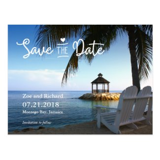 Tropical Beach Save the Date Postcard