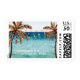 Tropical beach scene beach wedding design postage