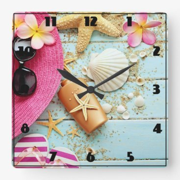 Beach Themed Tropical Beach Scene - Custom Clock