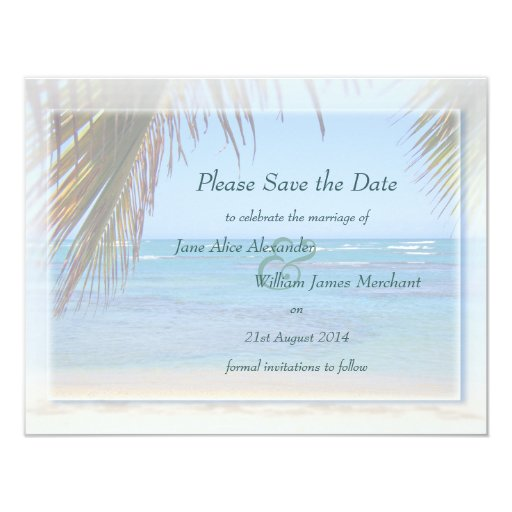Tropical Beach Scene Custom Save the Date Personalized Announcement