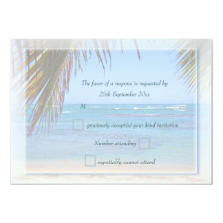 Tropical Beach Scene Custom Wedding RSVP Card