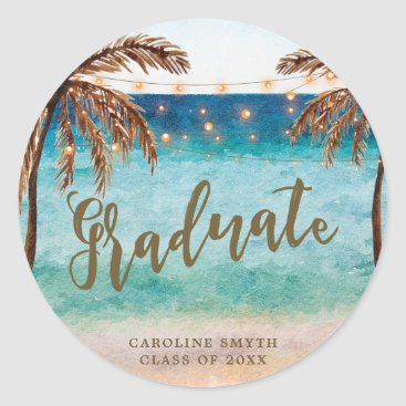 tropical beach scene graduation favors sticker