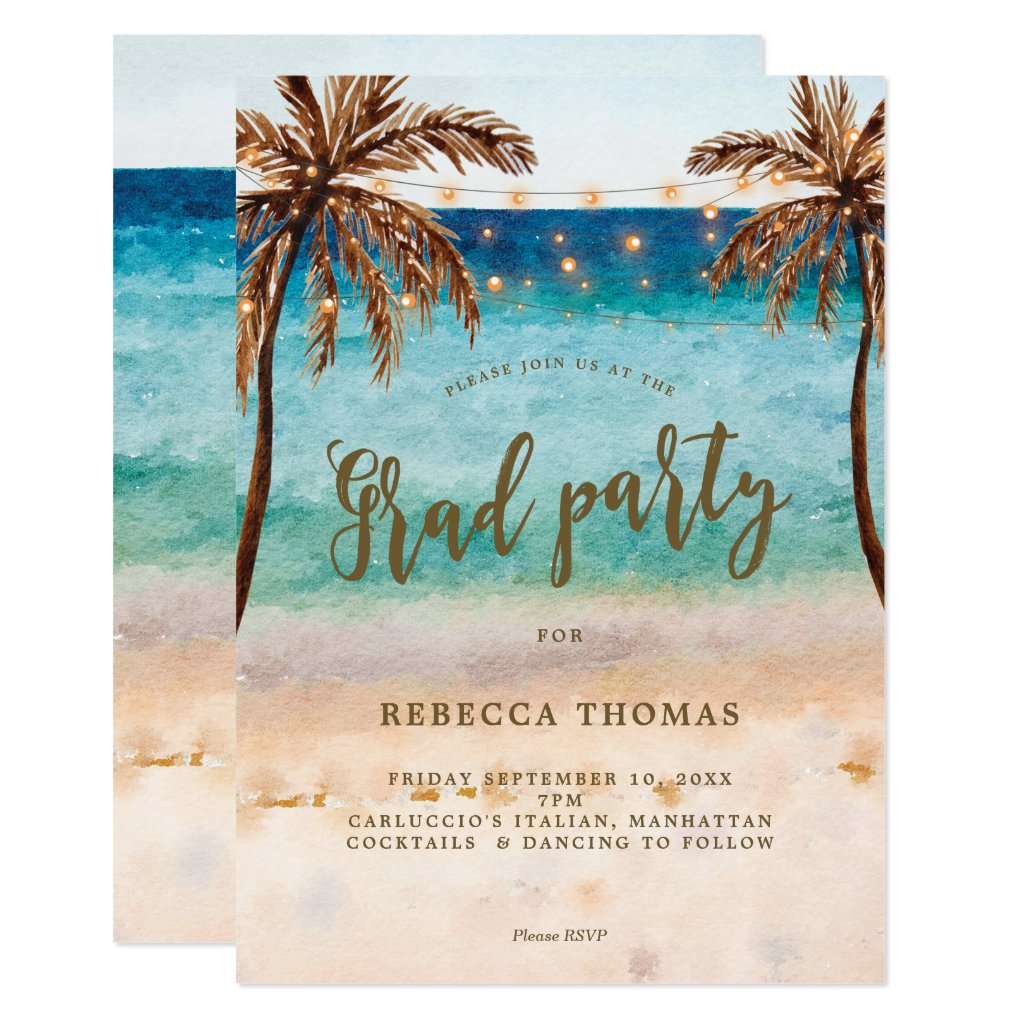 tropical beach scene graduation party invitation