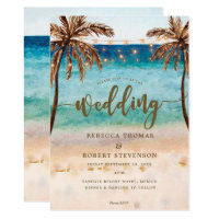 tropical beach scene modern wedding invitation