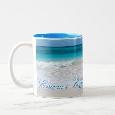 Coffee Themed Tropical Beach Scene Personalized Coffee Mug