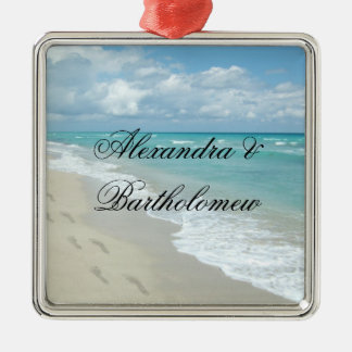 Tropical Beach Scene Personalized Keepsake Square Metal Christmas Ornament