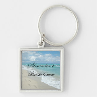 Tropical Beach Scene Personalized Keepsake Silver-Colored Square Keychain