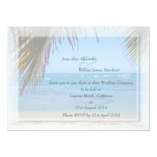 Tropical Beach Scene Photo Wedding Invitation
