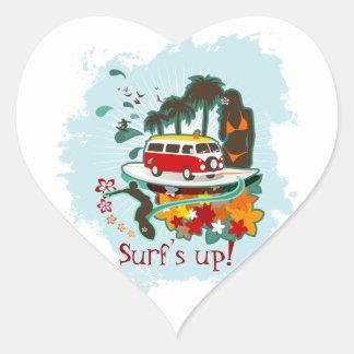 Tropical Beach Scene Heart Sticker